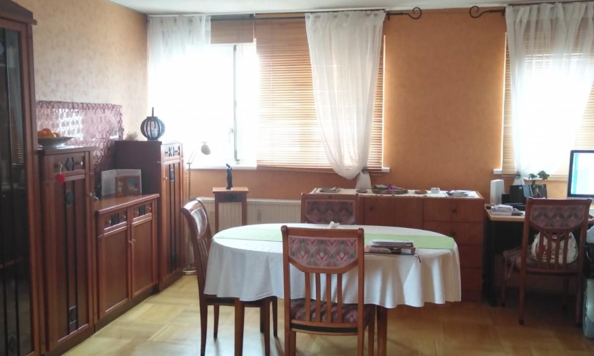 Wohnzimmer mit ovalem Tisch und Sesseln aus Kirsche, große Fenster mit Store und Holzjalousien